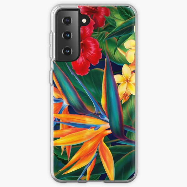 Tropical Paradise Hawaiian Birds of Paradise Illustration Samsung Galaxy Soft Case