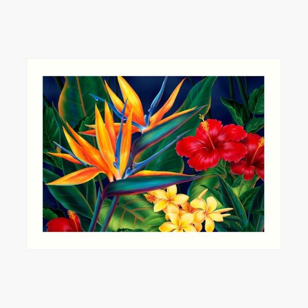 Tropical Paradise Hawaiian Birds of Paradise Illustration Art Print