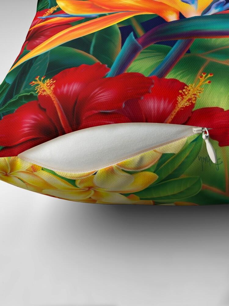 Alternate view of Tropical Paradise Hawaiian Birds of Paradise Illustration Throw Pillow