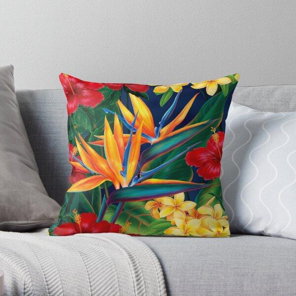 Tropical Paradise Hawaiian Birds of Paradise Illustration Throw Pillow