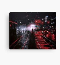 Night City Rain - 6 Canvas Print