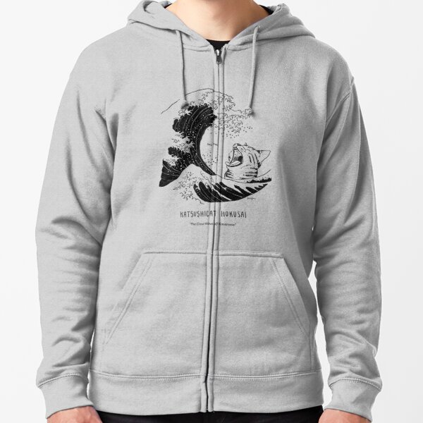 #meowdernart - Katsushicat Hokusai Zipped Hoodie