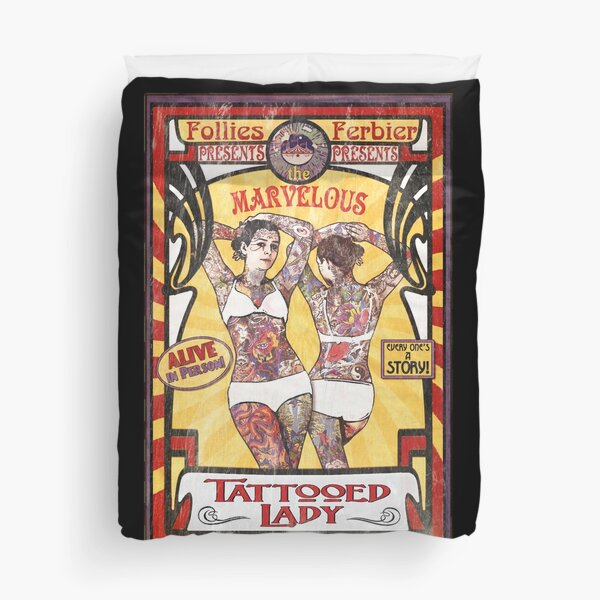 """""""The Tattooed Lady"""" Sideshow Poster Duvet Cover"""