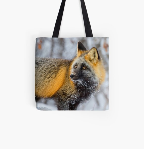 Cross Fox in the Arctic All Over Print Tote Bag