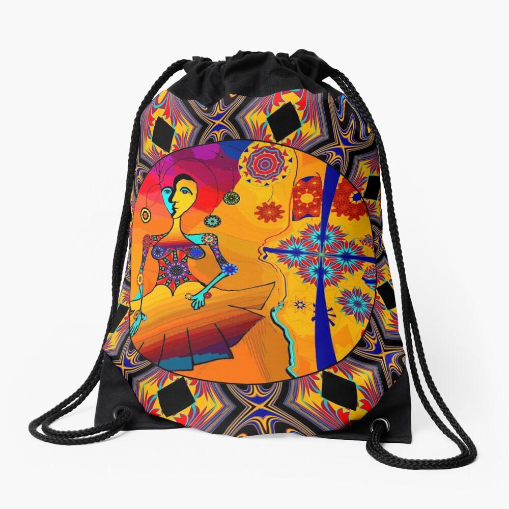 Girl With Kaleidoscope Eyes Drawstring Bag