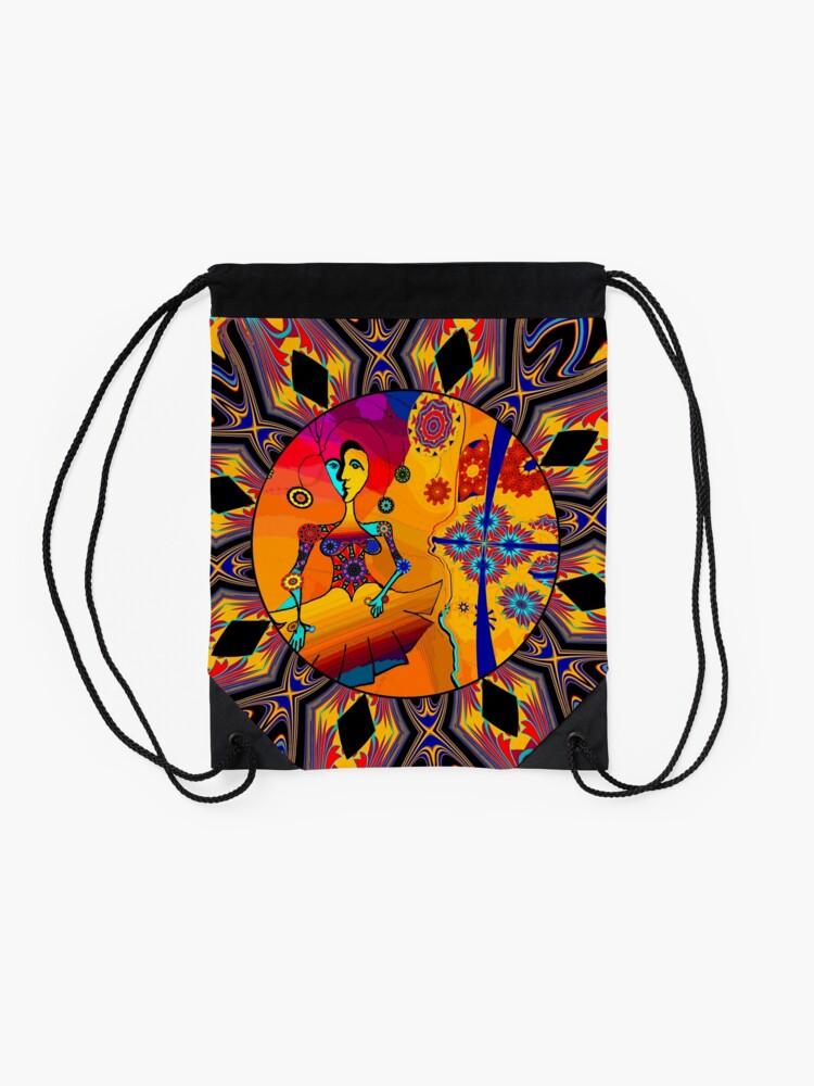 Alternate view of Girl With Kaleidoscope Eyes Drawstring Bag