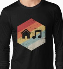 House Music - Vintage Retro Hexagon Long Sleeve T-Shirt
