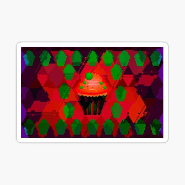 Red Glow Cupcake Sticker
