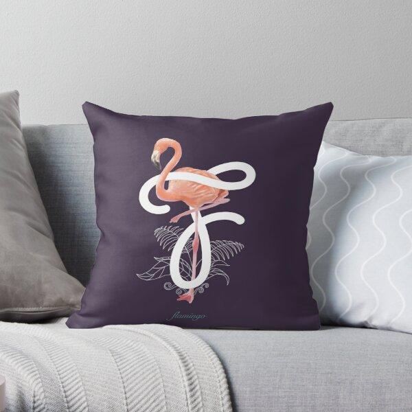F for Flamingo Throw Pillow