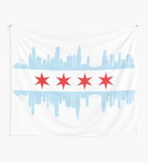 Chicago Skyline Flag Wall Tapestry
