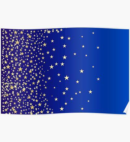 Star Shine Background Blue  Poster