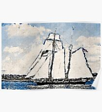 Stylized photo of Tall Ship Californian in San Diego Bay. Poster
