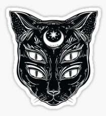 Black cat head portrait with moon and four eyes. Sticker