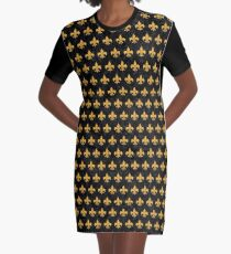 ROYAL1 BLACK MARBLE & ORANGE COLORED PENCIL (R) Graphic T-Shirt Dress
