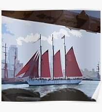 Stylized photo of the Tall Ship American Pride at the Festival of Sail in San Diego, CA US. Poster