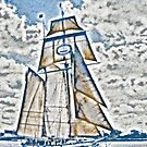 Stylized photo of Tall Ship Californian in San Diego Bay. by NaturaLight
