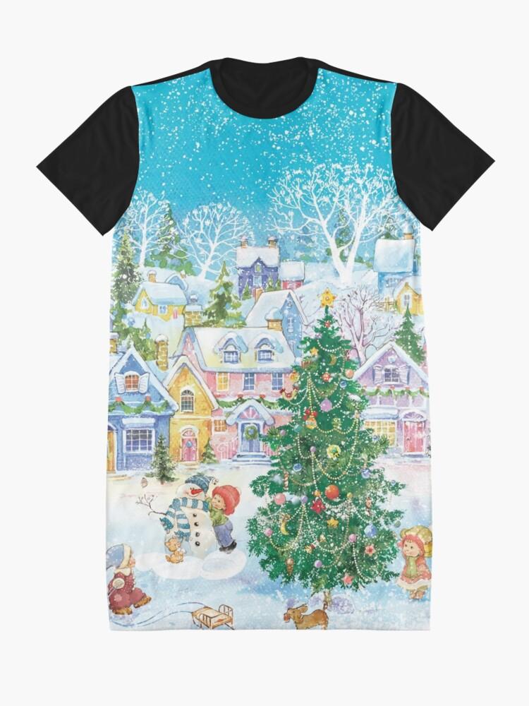 Vista alternativa de Vestido camiseta Una ciudad acogedora en el invierno