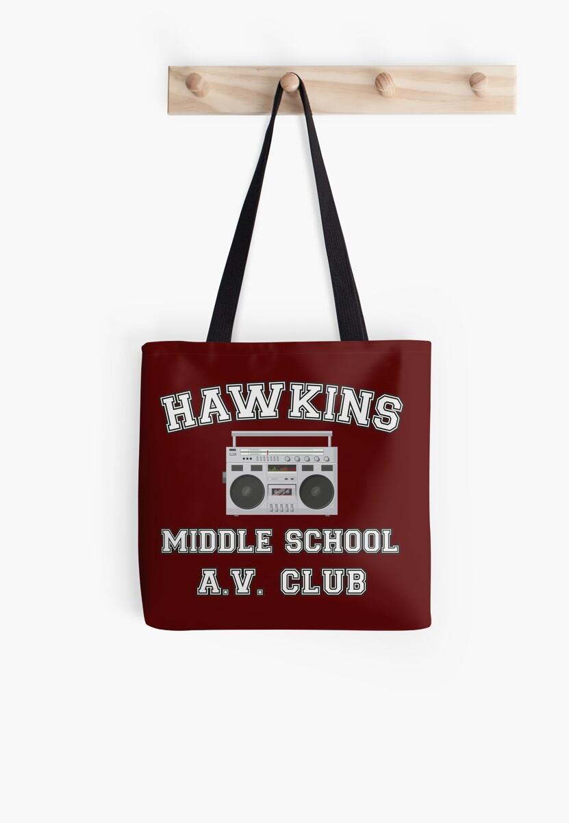 Hawkins Middle School Av Club Stranger Things Tote Bags By Heidi