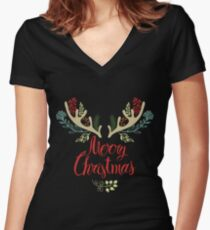Merry Christmas Tshirt Women's Fitted V-Neck T-Shirt