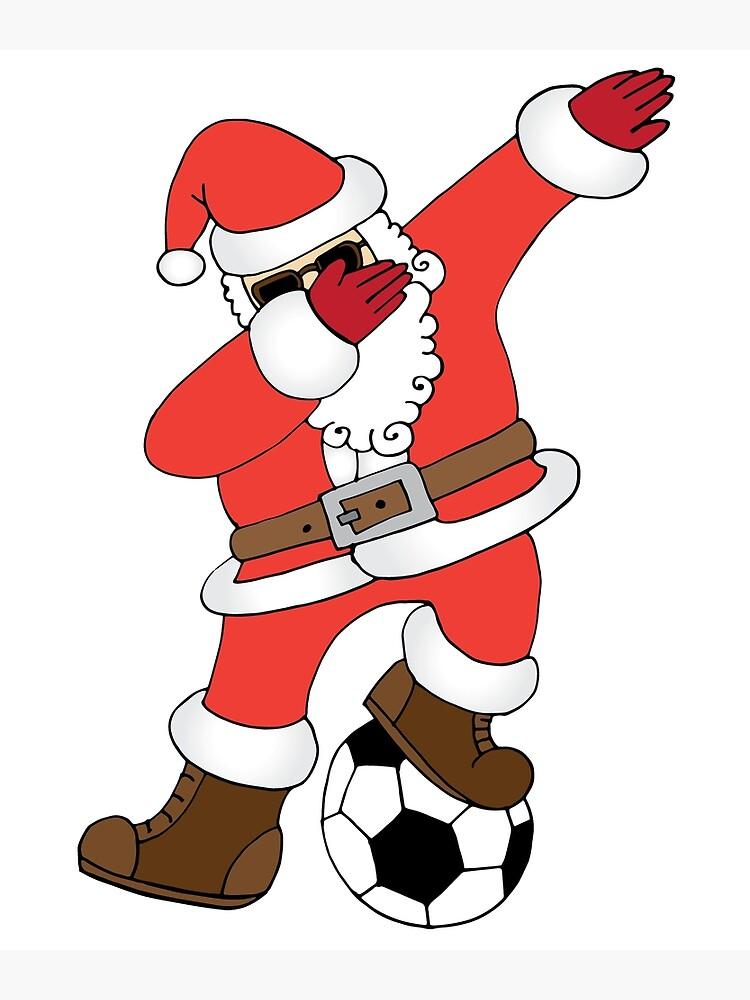 Lustige Santa Dabbing Fussball Weihnachten Fussball Poster