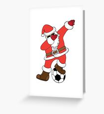 Funny Santa Dabbing Soccer Christmas (Football) Greeting Card