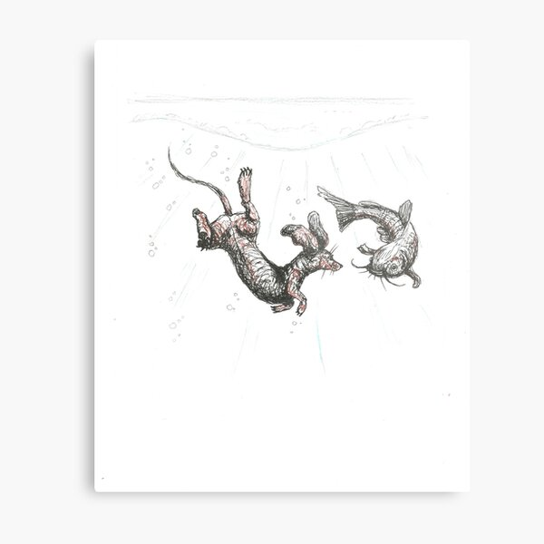 Dachshund underwater. Sausage dog swimming with cat fish, illustration. Metal Print
