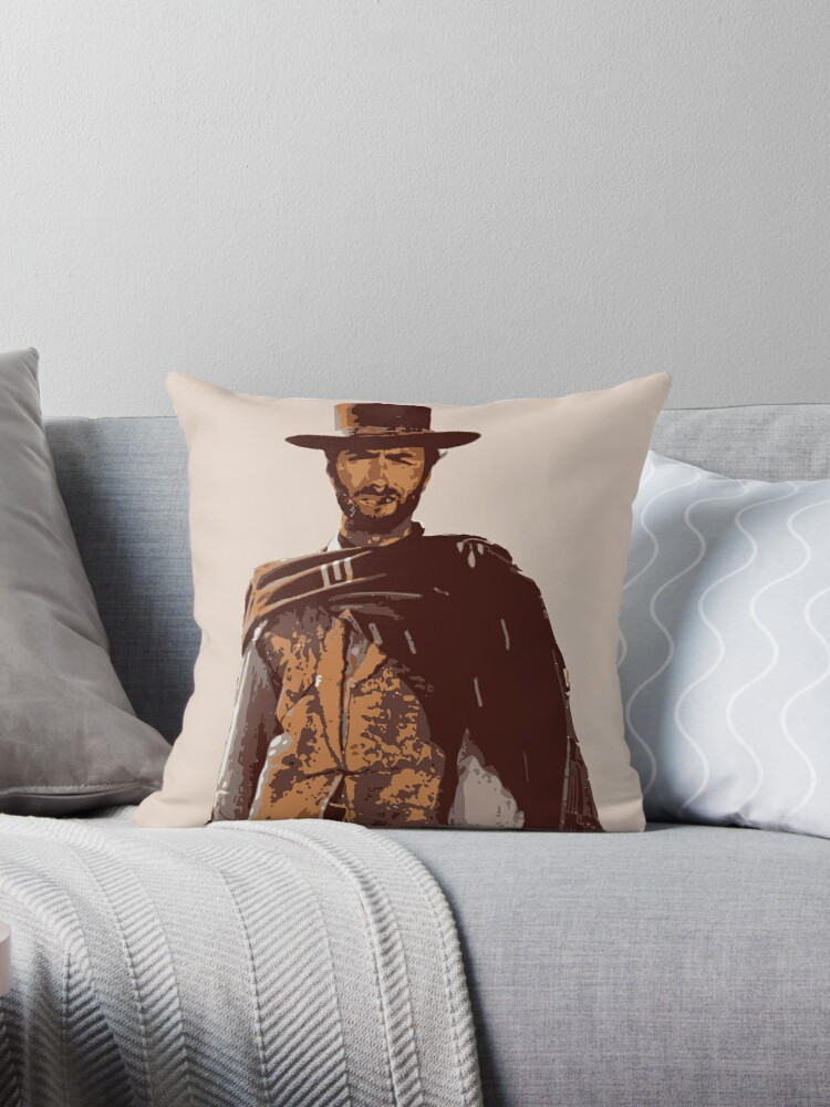 Clint Eastwood Throw Pillow By Machinaenix Redbubble