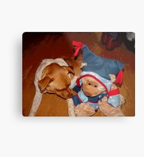 A Cowboys Dream, a dog, a teddy and a new Pair of Boots! Metal Print
