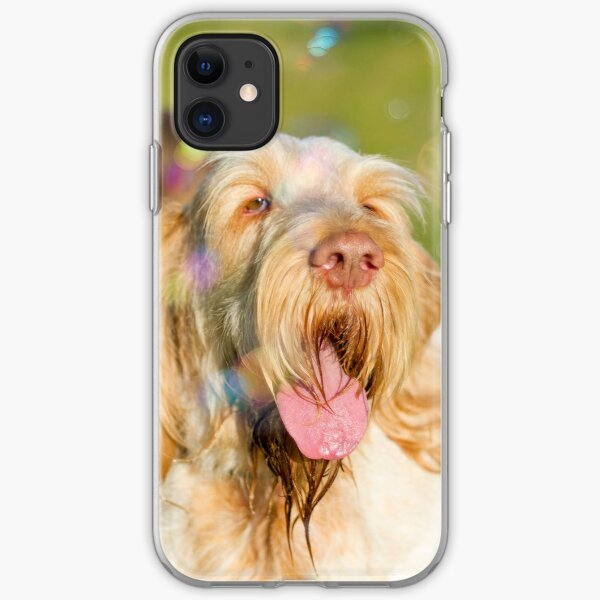 Soap Film - Orange and White Italian Spinone Dog Head Shot with Bubbles iPhone Soft Case