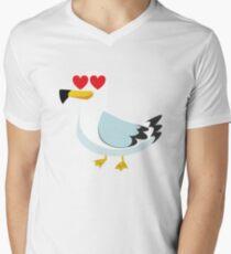 Seemöwe Emoji T-Shirt mit V-Ausschnitt für Männer
