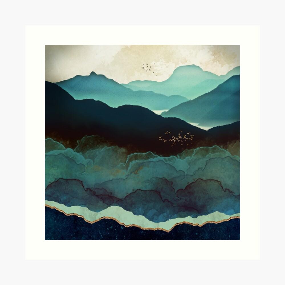 Montañas Índigo Lámina artística