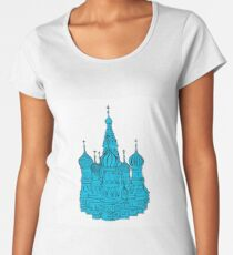 Moscow Kremlin illustration with colored backplate. Women's Premium T-Shirt