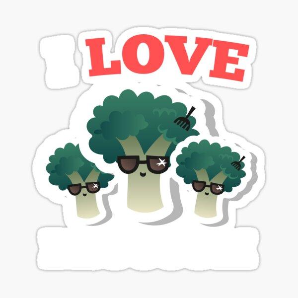 I Love Broccoli Vegan Veggie Lovers Novelty Gift T-Shirt Sticker
