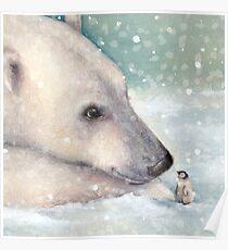 Unexpected Giants - Polar Bear and Penguin watercolour Poster