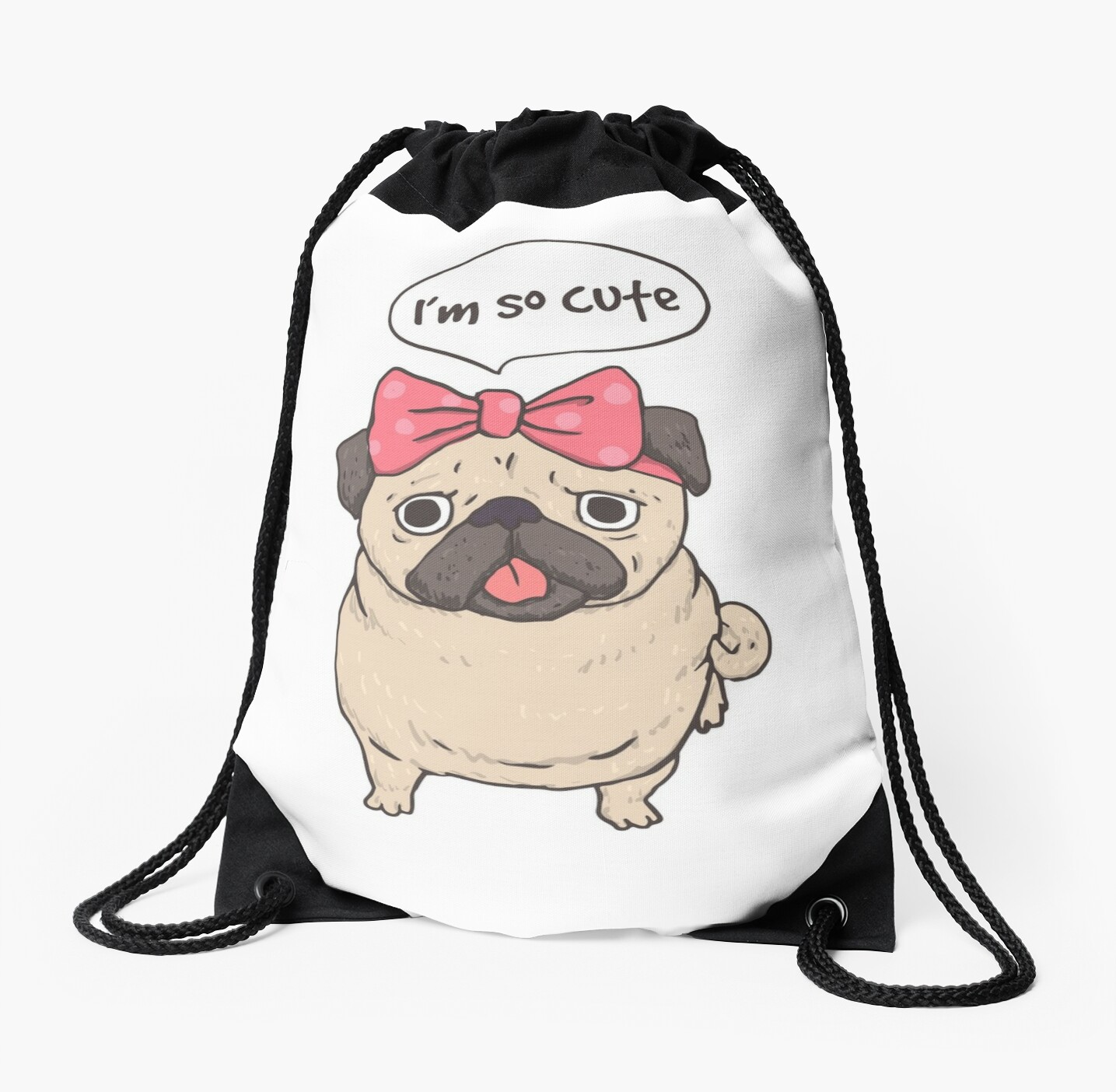 Funny Pug Puppy Dog Diva Cartoon Pup Drawstring Bags By