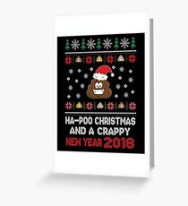 Funny Christmas Poop Face Greetings Potty Gag Gift Greeting Card