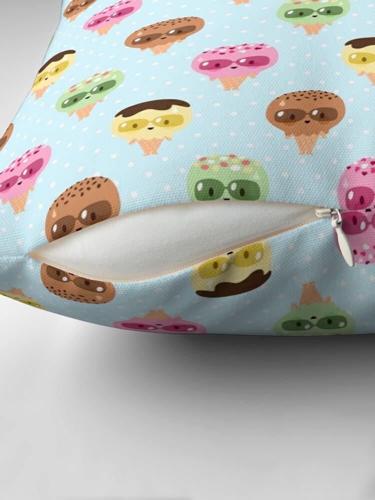 Alternate view of Kawaii ice cream friends Throw Pillow