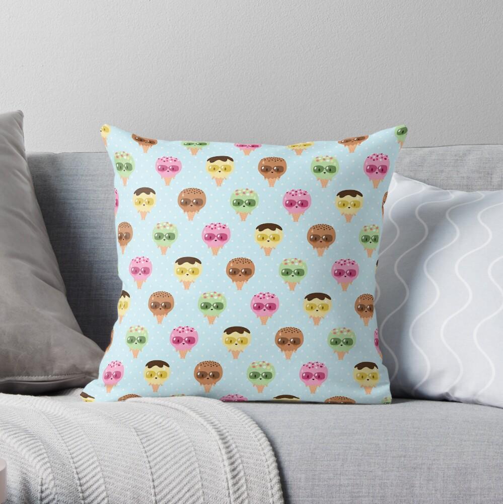 Kawaii ice cream friends Throw Pillow