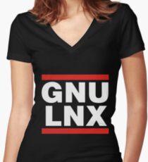 GNU/LNX (GNU/Linux) Women's Fitted V-Neck T-Shirt