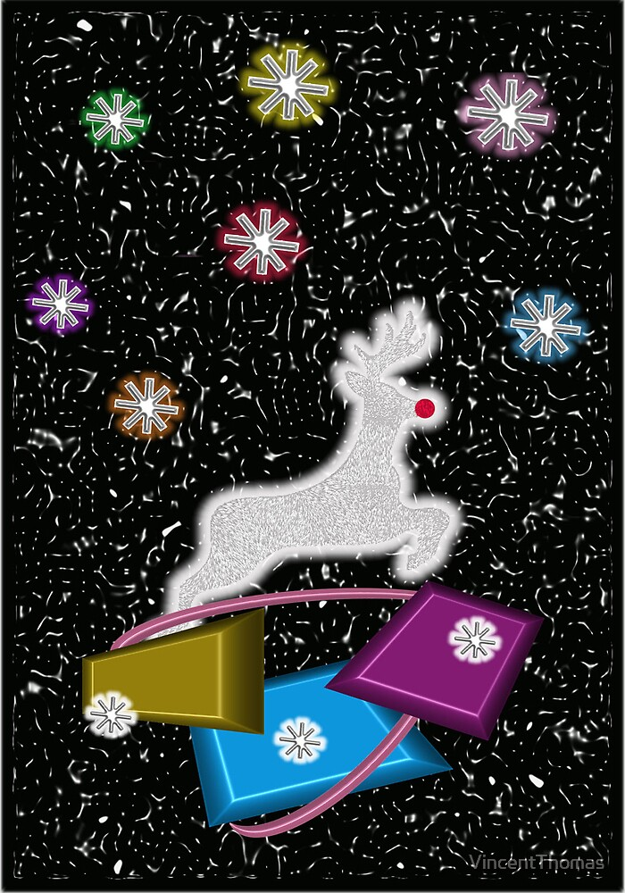 Reindeer & Gifts - Christmas Card by VincentThomas