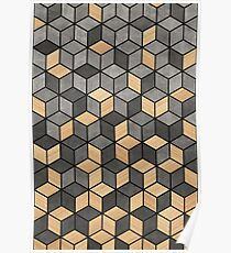 Concrete and Wood Cubes Poster