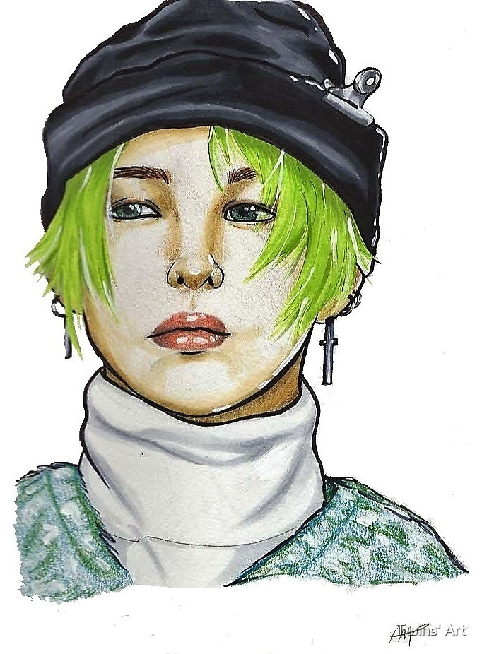 G Dragon Fanart Big Bang Drawing Copic Green Hair