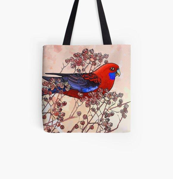 Crimson Rosella All Over Print Tote Bag