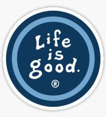 Blue Life Is Good Circle Logo Sticker