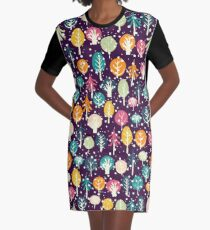 Night Forest Graphic T-Shirt Dress