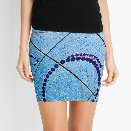 Abstract Baltimore Mirror Mosaic Blue and Orange Circular Patterns Photograph Mini Skirt