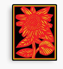 Seraglio Flowers Yellow Red Black Canvas Print