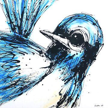 Blue wren by seat