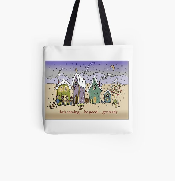Santa's Village He's Coming Be Good All Over Print Tote Bag