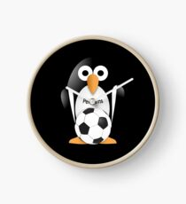 Penguin with soccer ball Clock